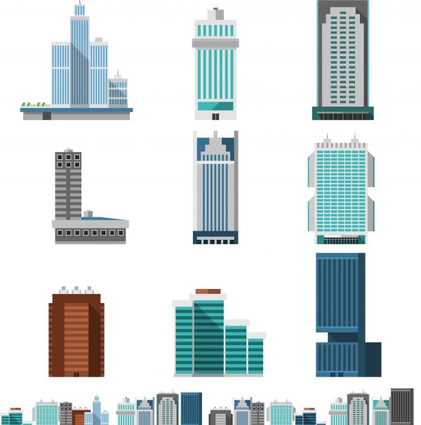 Skyscraper offices flat business buildings set with city skyline decorative icon isolated vector illustration