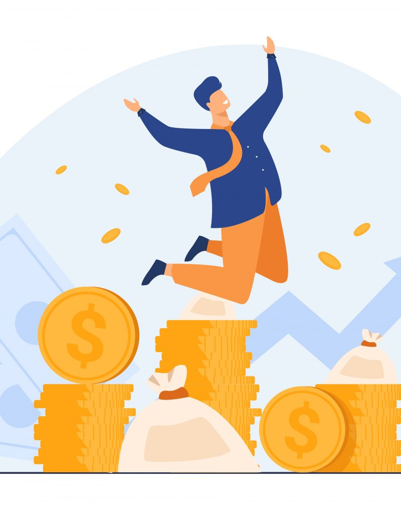 Happy rich banker celebrating income growth. Broker enjoying success in stock market trading. Flat vector illustration for money, finance, millionaire concept