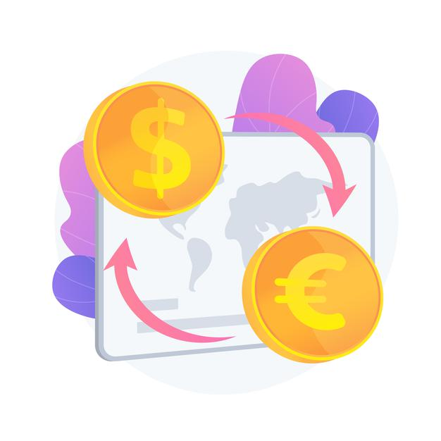 currency-exchange-service-monetary-transfer-changing-dollar-euro-buying-selling-foreign-money-golden-coins-with-eu-us-currency-symbols-vector-isolated-concept-metaphor-illustration